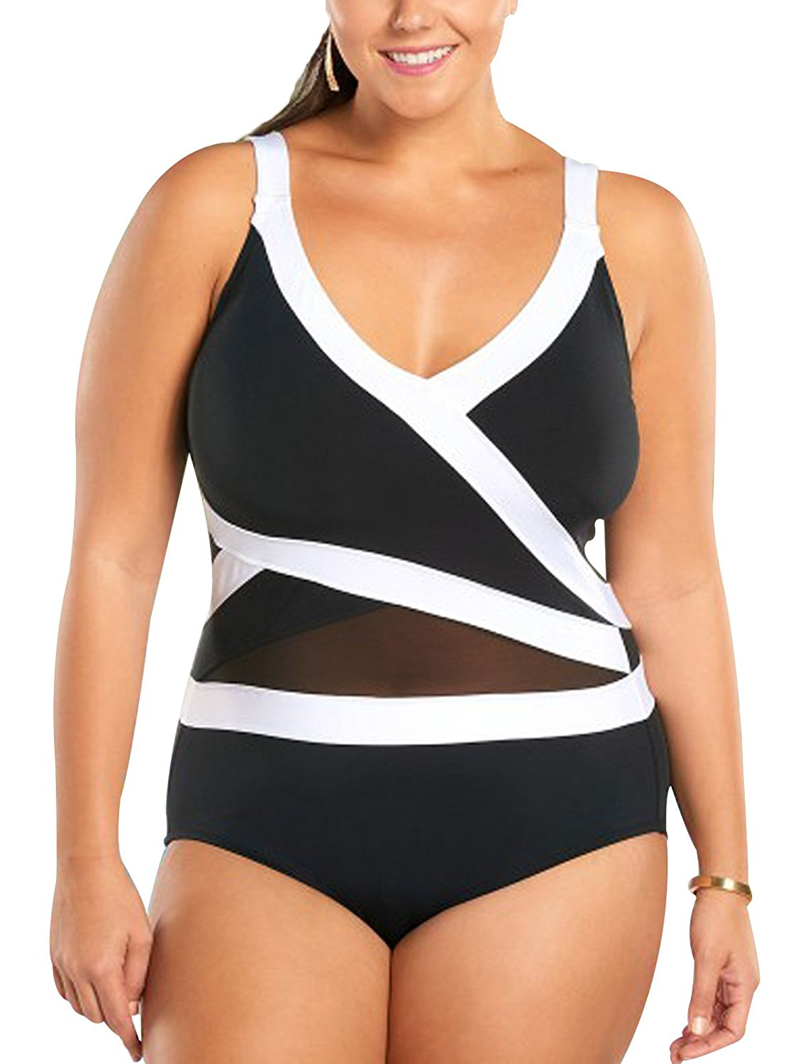 0126d1efcd1 Get Quotations · Zando Womens One Piece Bathing Suits Tummy Control Swimwear  Halter Swimsuits Mesh Colorblock Swimming Suits for