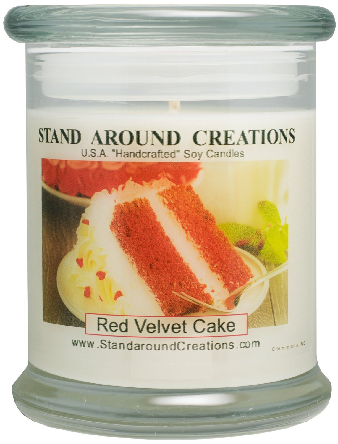 Premium 100% Soy Candle - 12 oz. Status Jar - Red Velvet Cake - A decadent blend of chocolate cake w/sweet cream cheese frosting.