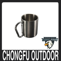 New arrivals 2017 camping equipment china stainless steel Carabiner Mug for outdoor hiking and camping