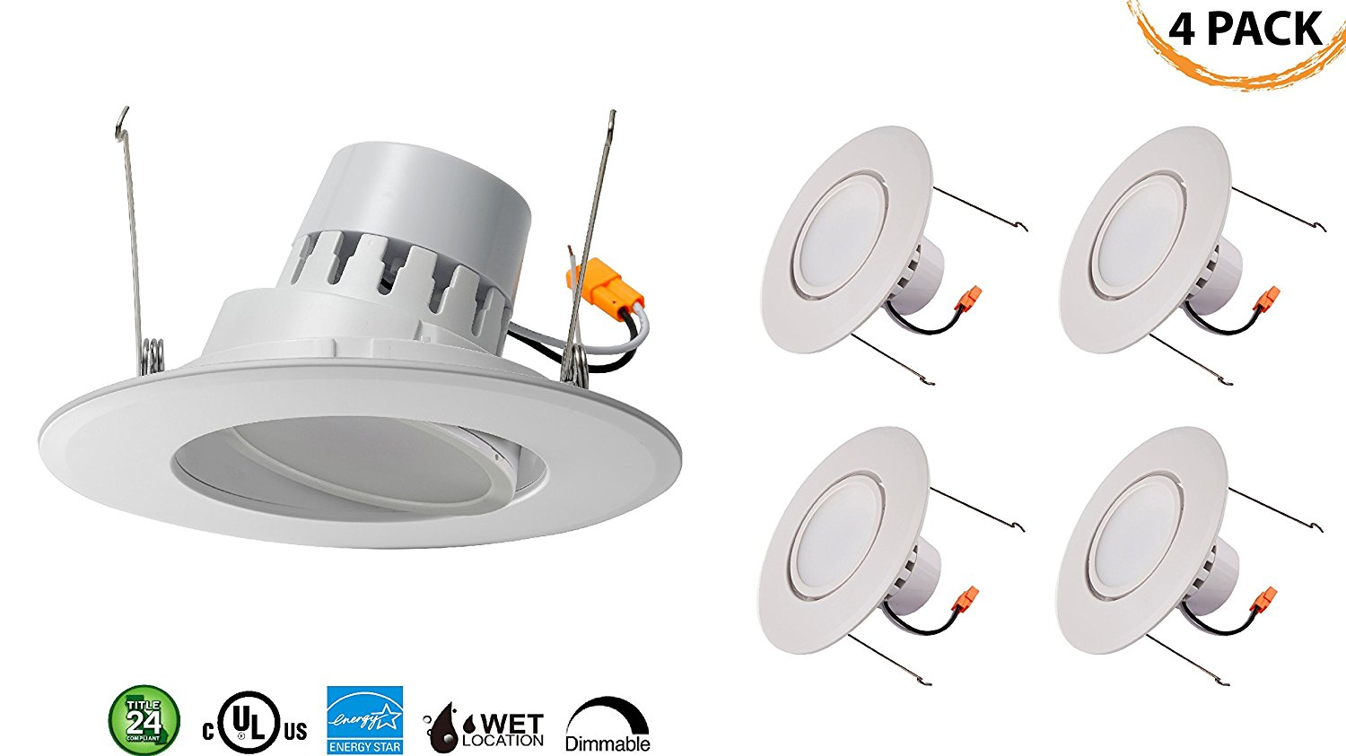 "5/6"" Inch LED Gimbal Adjustable Rotating Downlight 16.5W= (100w Equivalent) Damp Location Rated; 25,000 Life Hours; Dimmable to 5%; 5 YR Warranty; 1200 Lumens; WARM WHITE 2700K- (4 PACK)"