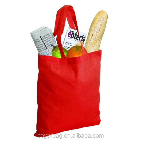 Promotional custom reusable wholesale bright red cotton shopping bag