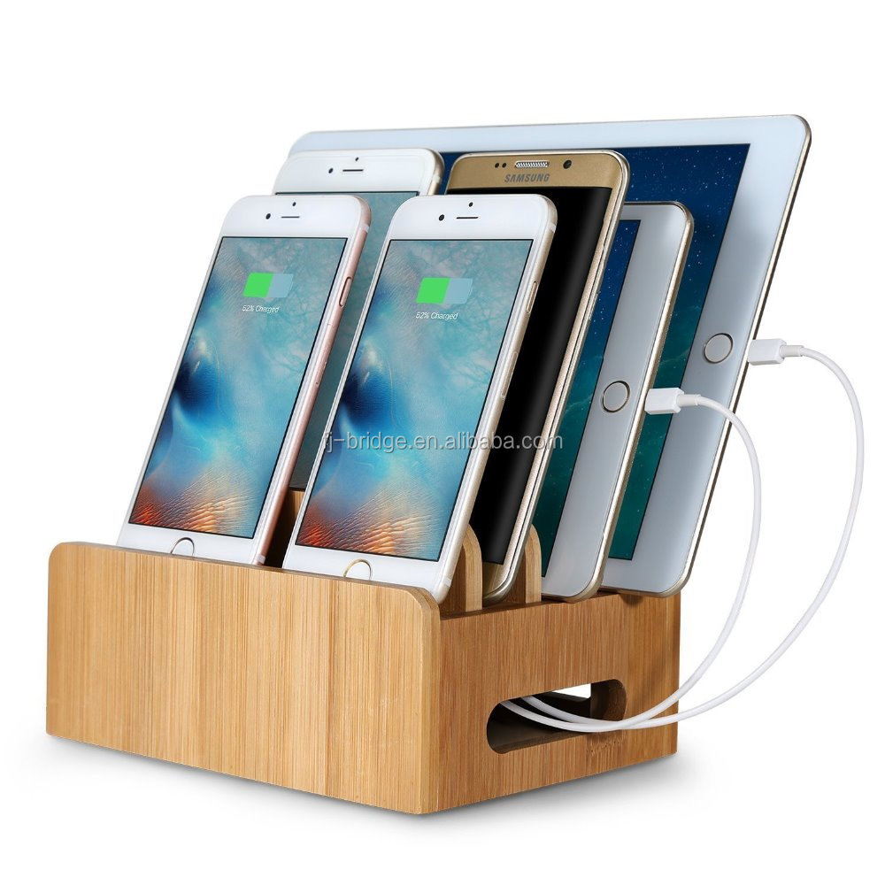 Bamboo Charging Station Stand Multi-Device Cords Organizer Dock [Compatible Most Multi-Port USB Charger] for Smartphones and Ta
