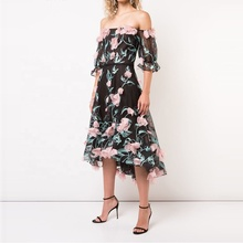 Phụ nữ thanh lịch handmade ăn mặc floral tắt shoulder midi <span class=keywords><strong>evening</strong></span> <span class=keywords><strong>dresses</strong></span>