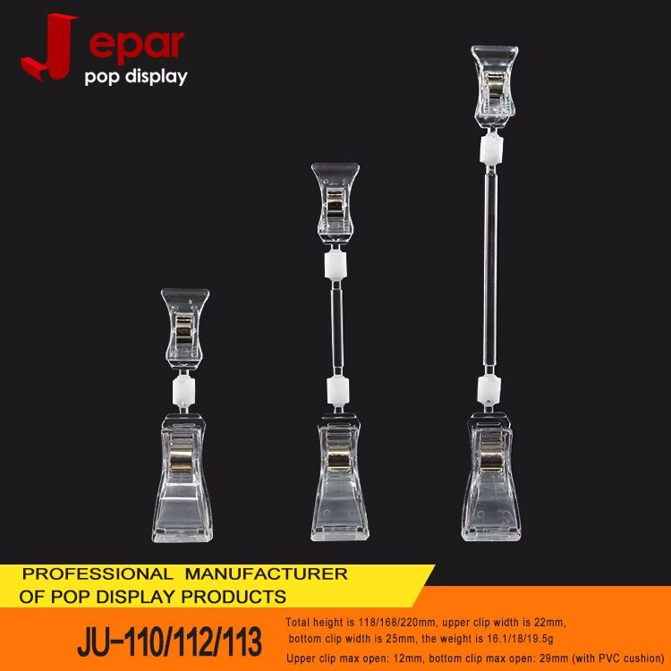 Supermarket pop promotional plastic clear clip