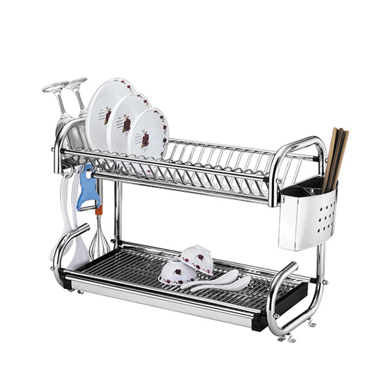 2-Tiers Rustproof Stainless Steel Dish Rack Kitchen Dinner Plate Holder with Chopstick Cup Holder