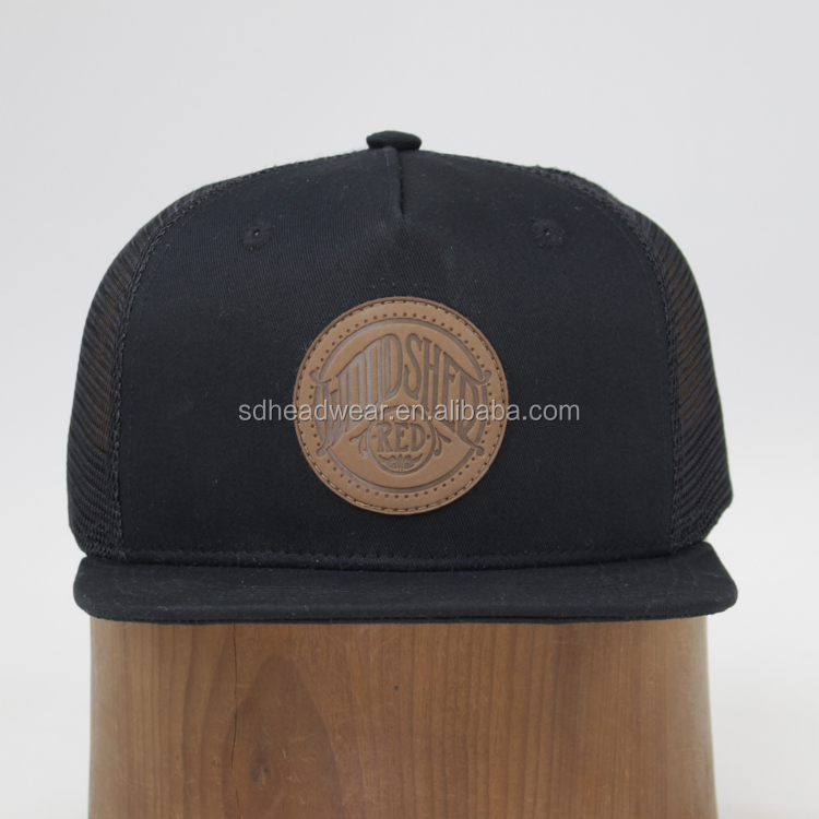 11af7bf44 Wholesale Design Your Logo Flat Bill Cotton Embossed Leather Patch Trucker  Hat - Buy Leather Patch Trucker Hat,Embossed Leather Patch Trucker ...