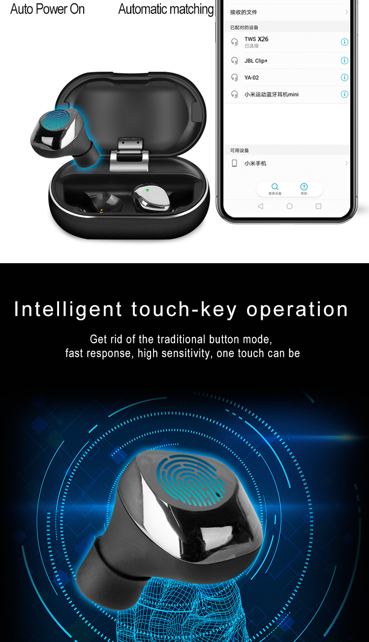 KC/FCC/CE/ROHS/MSDS Certificate  Touch Operation BT5.0 Earphone Volume Noise Control Cancelling X26 TWS headphones