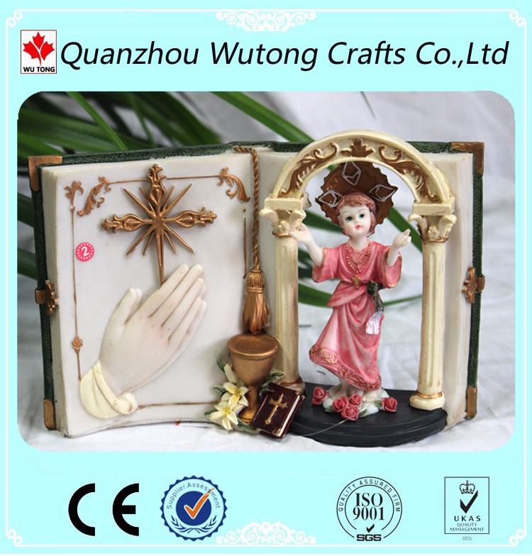 resin home collection items religious manger figurines with books