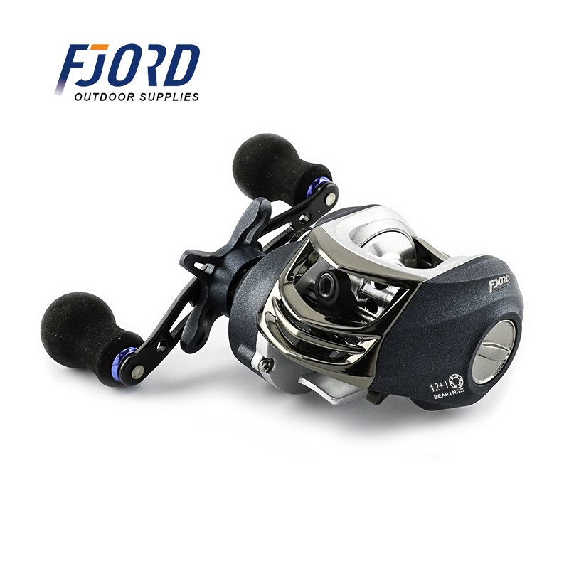 FJORD Smooth Dual Braking System 12+1BB Baitcasting Fishing Reel Low Profile Bait Casting Reel, Same as picture or customized