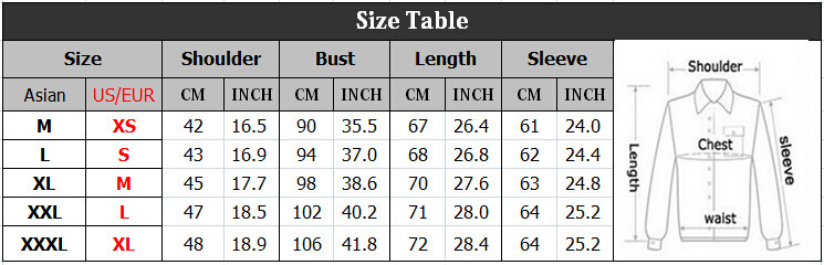 All Clothing Is Asian Size About 1 2 Smaller Than Eur Us Please Check The Chart Carefully