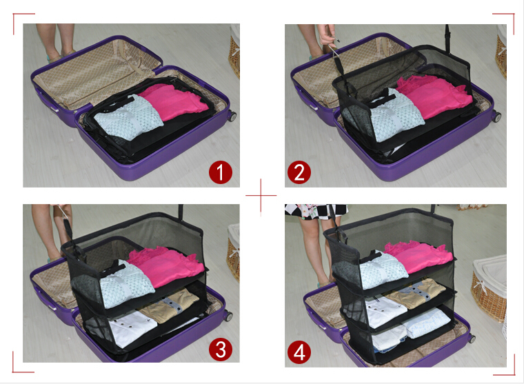 Fashion 3 Compartments Storage Shelves Casual Polyester Foldable Travel Bag Accessories Hanging Clothes Organizer For