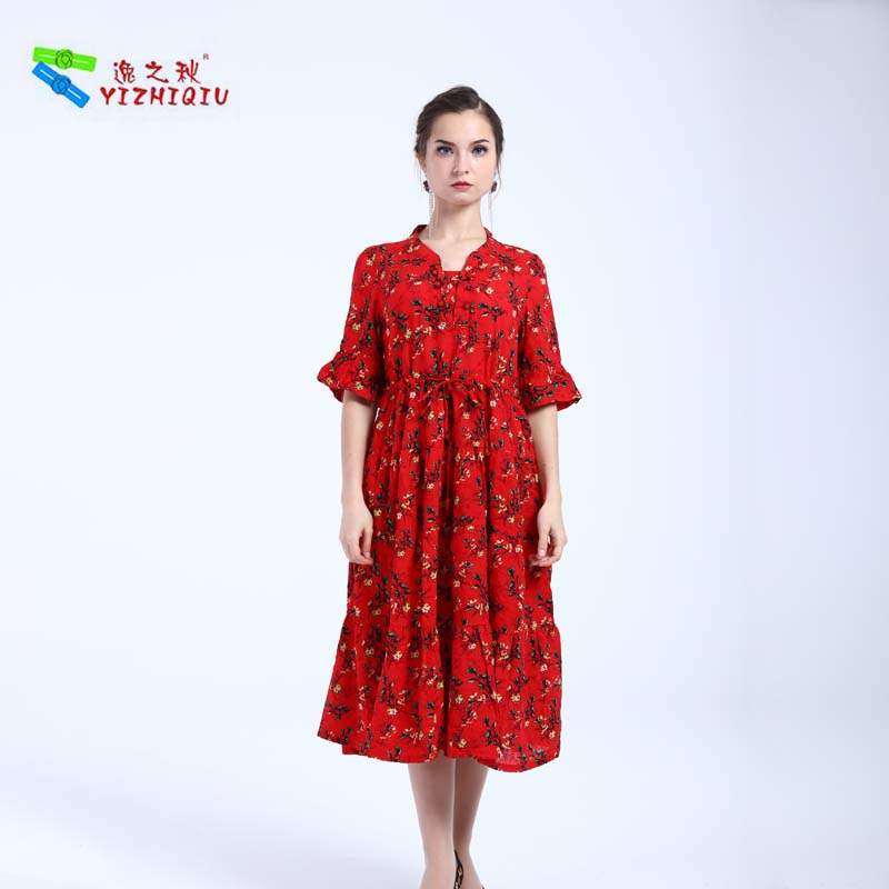YIZHIQIU Short Sleeve Cotton And Linen Flare Dress