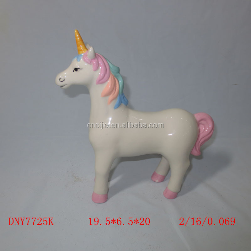Custom hand painting mini unicorn statue ceramic figurine for kids gifts