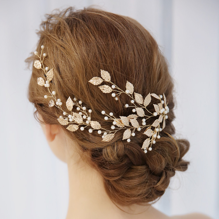 Charm Leaf and Pearls Bridal Hair Vine Tiara Wedding Bridal Women Hairpiece Bridal Hair Jewelry Gold Foliage For Dancing