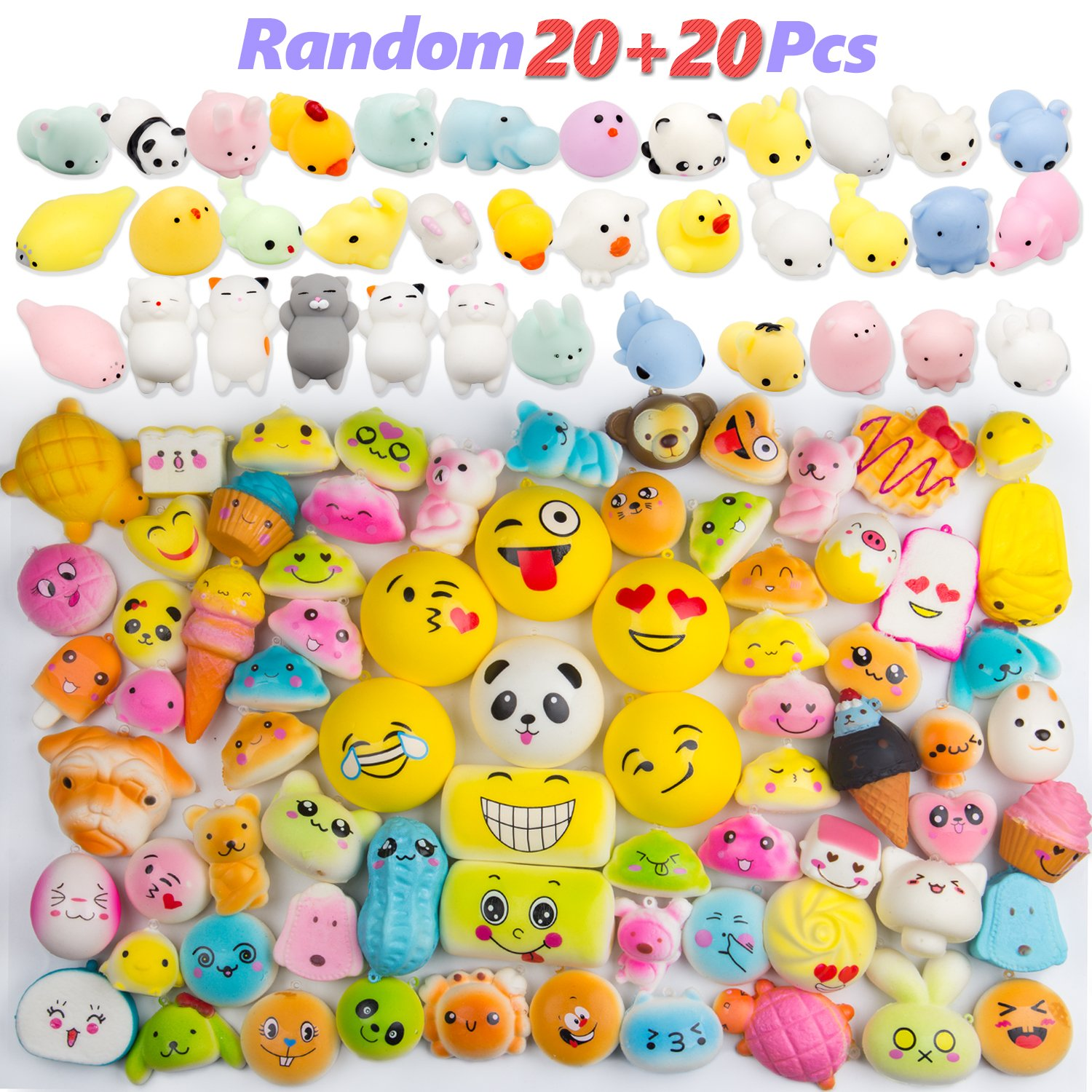 WATINC 40pcs Kawaii Cream Scented Slow Rising Squishy Toys, Including Random 20 Pcs Animals,Emoji Smile Face Squishies, Random 20 Pcs Cute Animal Mochi Mini Soft Squishies