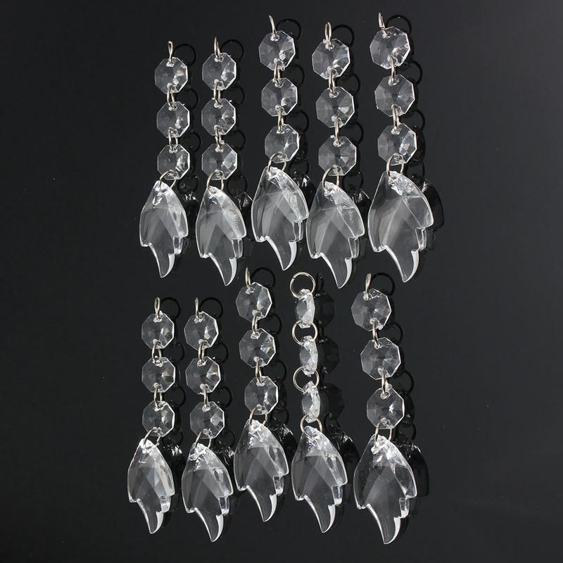 New 10Pcs/lot Acrylic Crystal Beads Maple Leaf Garland Hanging <font><b>Decor</b></font> For Wedding Party <font><b>Home</b></font> Decoration <font><b>Elegant</b></font> Beatiful