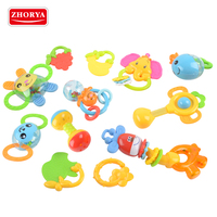 Zhorya 12pcs safe soft material bulk animal style baby teether toy and baby rattles toy set