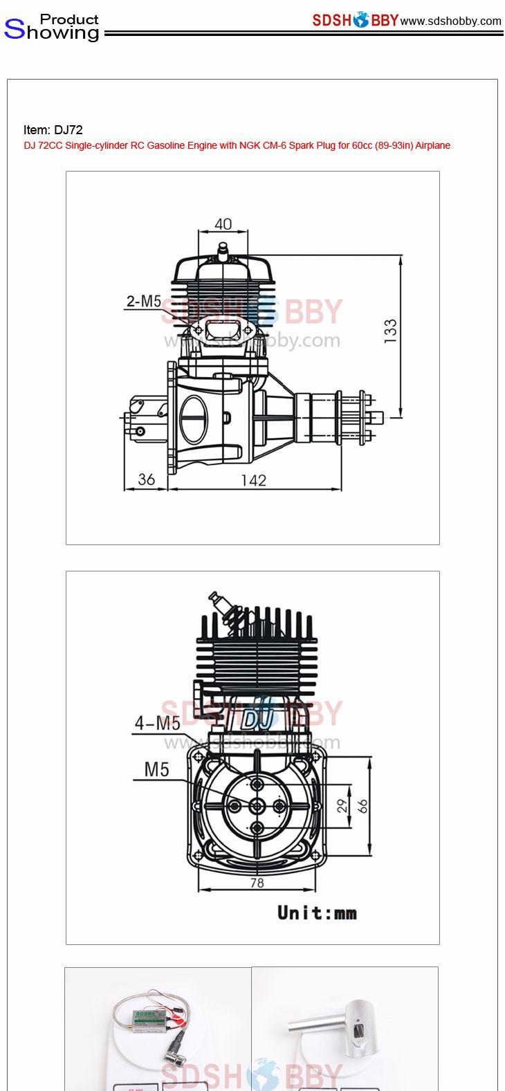 Dj 72cc Single Cylinder Rc Gasoline Engine With Ngk Cm 6