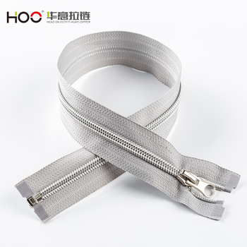 Suitable for clothing sliver teeth zipper open end with grey tape Nylon zipper