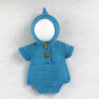 Newborn Baby Photography Props Jumpsuit for Boy Girl Photo Shoot Outfits Lovely Crochet Knit Infant Costume Photo Shoot Props