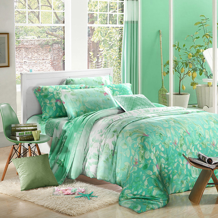 Mint Green Leaf Print Bedding Sets Luxury Queen King Size
