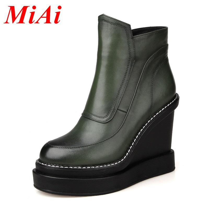 shoes women ankle boots new fashion genuine leather high heels winter boots round toe Wedges zipper black riding boots for woman
