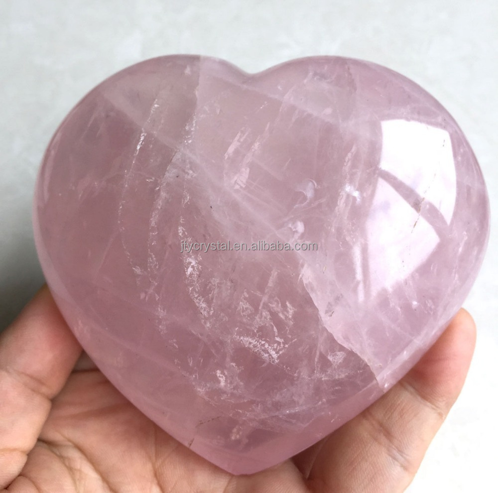 wholesale rose quartz heart for wedding favors/heart shaped quartz crystals