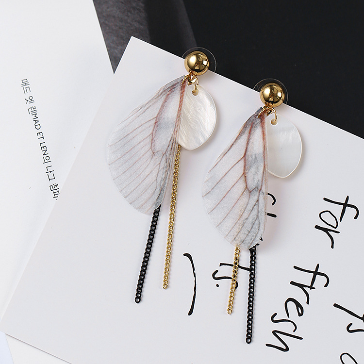 Girls Jewelry Gift Long Chain Tassel Earrings Pink Butterfly Wing Dangle Drop Stud Earrings