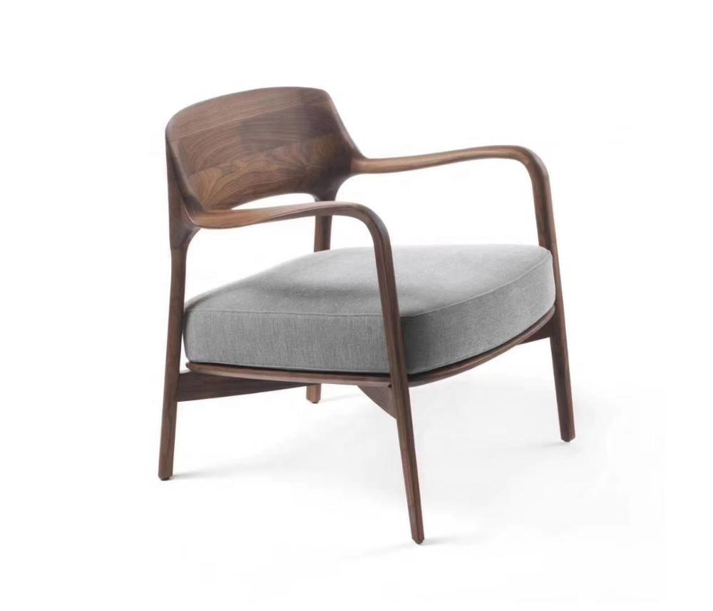 Estilo moderno Sala reclinable de marco de madera maciza sola tela de salón Silla de ocio