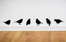 wall stickers modern home decor – bird wall stickers ,one set = 6 pieces(App 3*5″ each) free shipping,color white pink green..