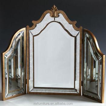 Ordinaire MR 4T0093M Antique Gold Distressed Tri Fold Table Mirror