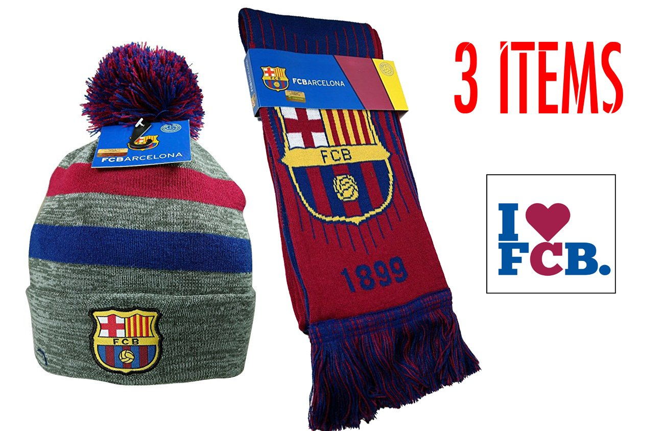 a86dc563e65 Get Quotations · Fc Barcelona Set Beanie Pom Pom Skull Cap Hat and Scarf  Reversible New Season