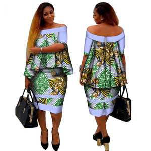 African Dashiki Print Women Clothing Two Pieces Tops and Body Corn Dress Set Dresses and Skirts Plus Size BintaRealWax WY2400