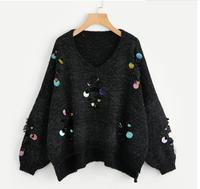 Iridescent Sequin Ripped Sweater Pullover Women Sexy Marled Knit Oversized Jumper Fall 2017 V Neck Long Sleeve Sweater