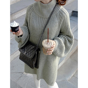 Latest Split Design And Long Sleeve Loose Knit Lady Oversized Sweater