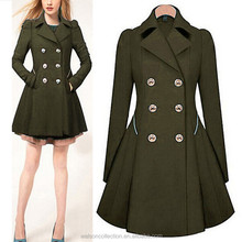Signore <span class=keywords><strong>donne</strong></span> manica lunga giacca trench coat casual sottile doppio- petto cappotto