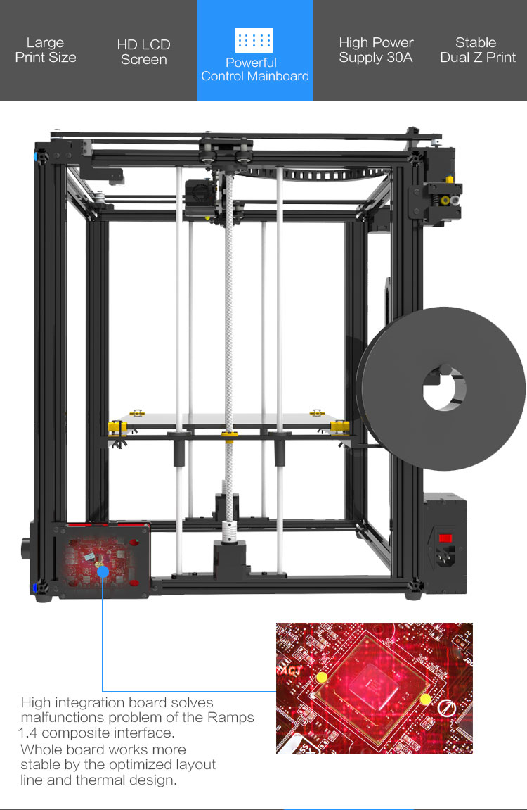 Upgraded version Tronxy X5S-400 large metal frame 3d printer