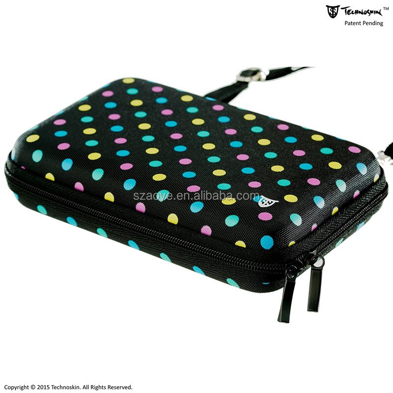 Travel Carrying Case for NEW 3DS or NEW 3DS XL - Polka Dot - 8 Game Holders - Hard Cover - Mesh Accessory Pouch - Carrying Strap