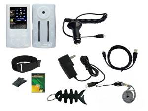 9 items Premium Accessories Bundle Combo for Sony Walkman NWZ-344, E345 Series, includes: (Clear Silicone Skin Case + car Charger + Wall/Travel Charger + Straight usb cable + Screen Protector + Adjustable Armband + Black Belt Clip + Lanyard +Black Fishbone Style Keychain)