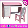 Wooden student table and chair for kids,wooden toy study school table and chair,hot sale wooden writing desk for baby WJ278040