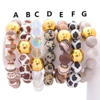 B16022704 Gemstone Beaded Elastic Bracelet With Gold Ball Bead