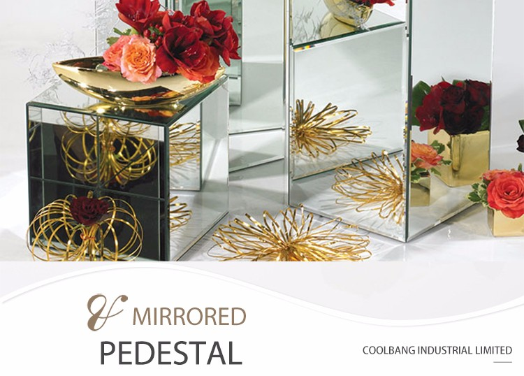 Nice Design Decoration Pedestal Mirrored Wedding Flower Stand Centerpieces For