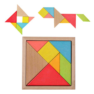 Beech wood children's intellectual early childhood education teaching wooden tangram puzzle
