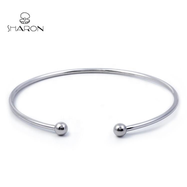 Bulk Wholesale S925 Sterling Silver Open Two Beads Cuff Bangle Bracelet Charm Bracelet