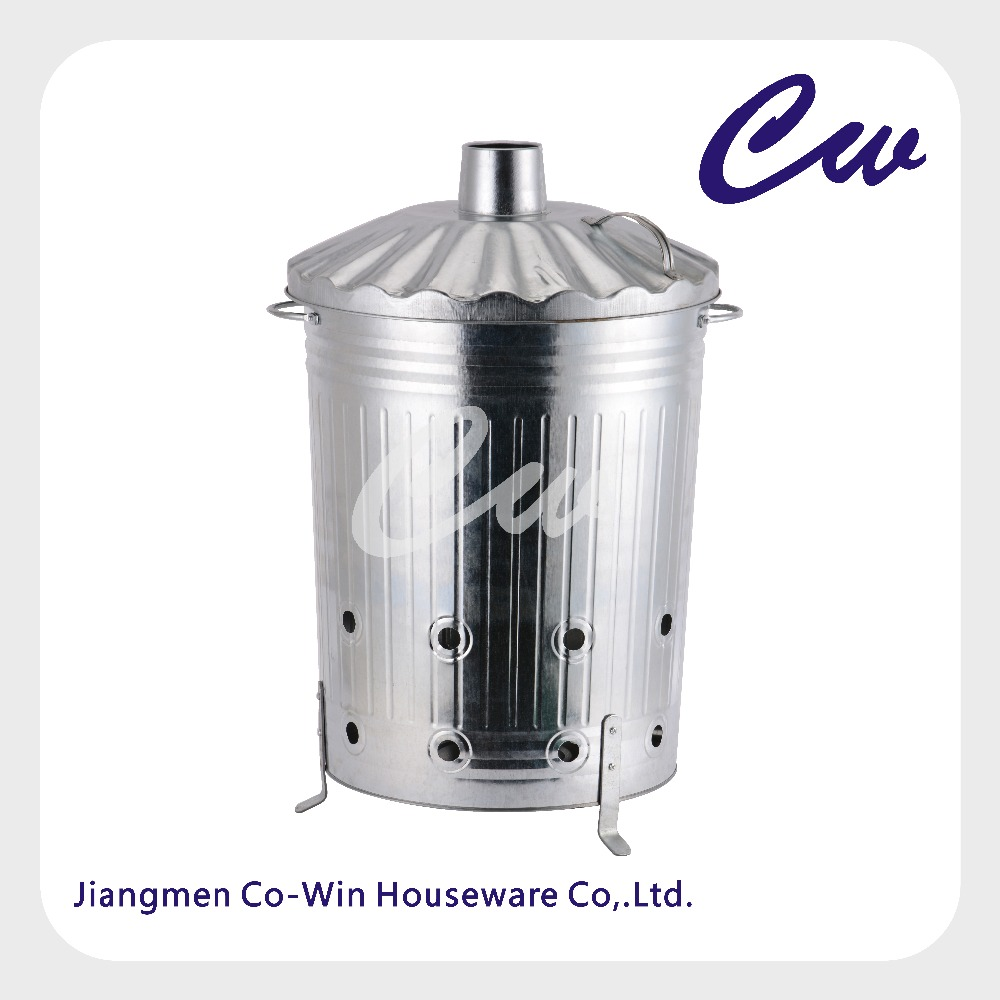 Galvanized Metal Garden Incinerator Can With Cover / <strong>Waste</strong> Burner /Composter / Rubbish Grabber by Gardenware