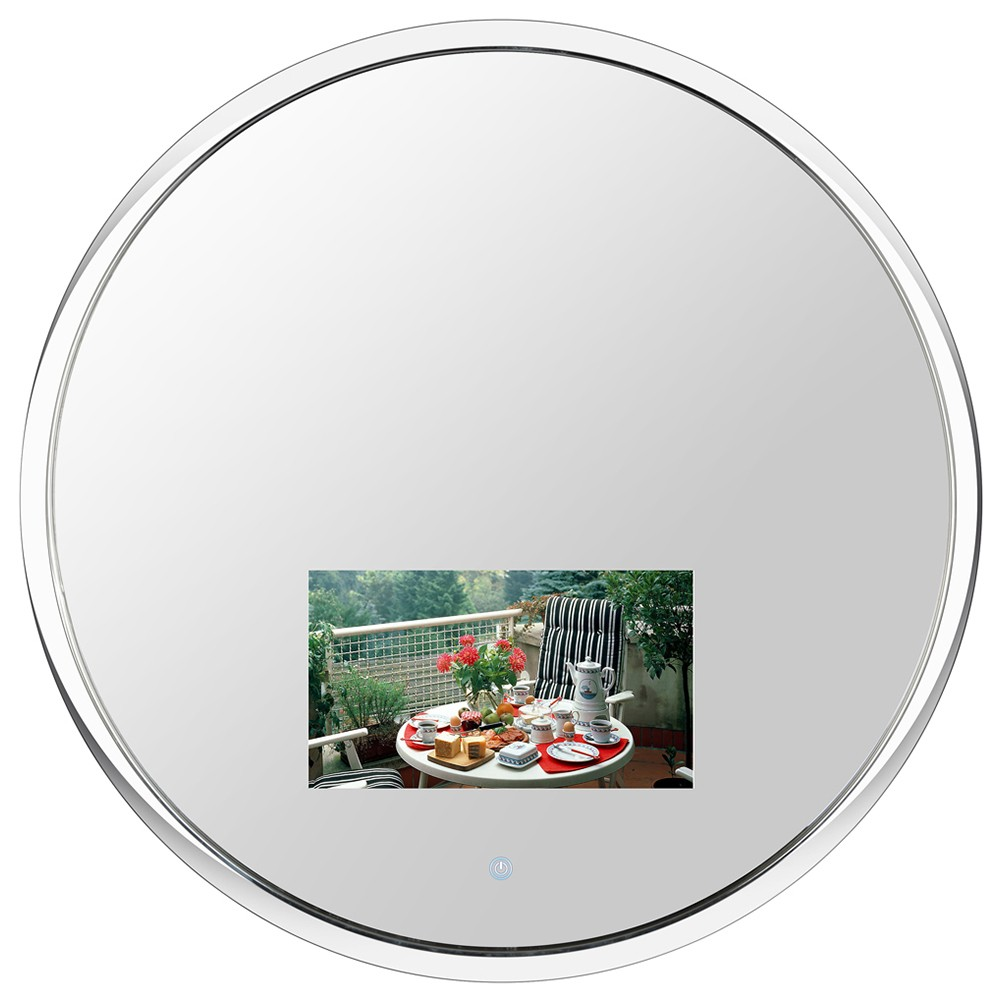 Souria <strong>24</strong>&quot; Round Stone Vanishing Freeview Mirror Television with 10.6&quot; LED Screen for Bathroom/Hotel