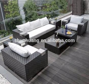 Black Color 7pcs Outdoor Rattan Furniture Sofa Patio Wicker Sets