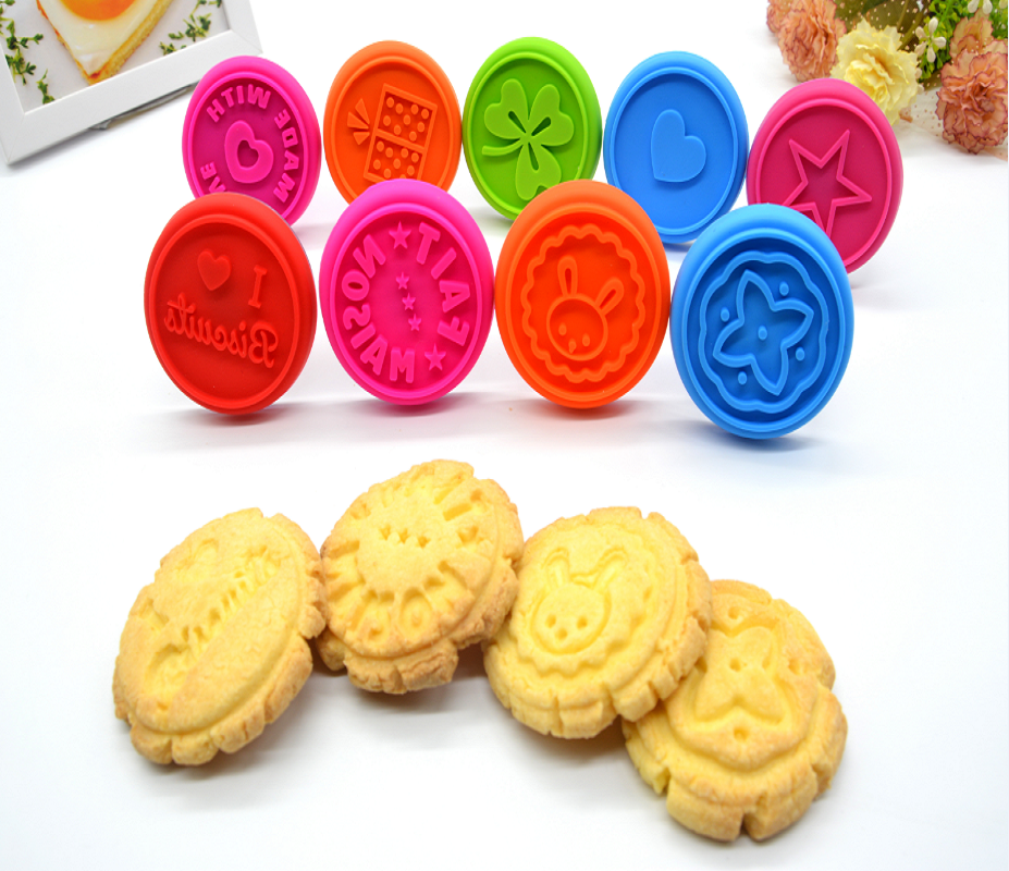 Custom silicone stamp Cookie Press with handle Mold Printing Pastry Stamps