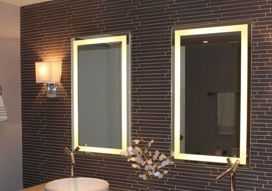 Con cornice in legno bagno specchio retroilluminato con incasso ha