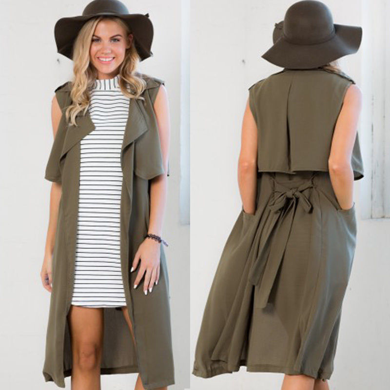 90bf899479ff5 ... top man leather jacket directly from China jacket reviews Suppliers   NEW Fashion Ladies Women Chiffon Sleeveless Trench Coat Waterfall Cardigan  Summer